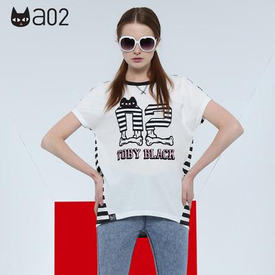 a02珍藏版a02潮流个性字母猫印花T恤 DTQ0C0171KT