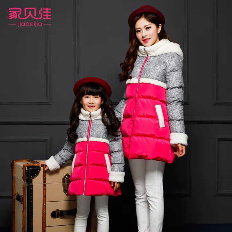 亲子装冬装2015款韩版棉服中长款羊毛羔拼接棉衣母女装童装外套