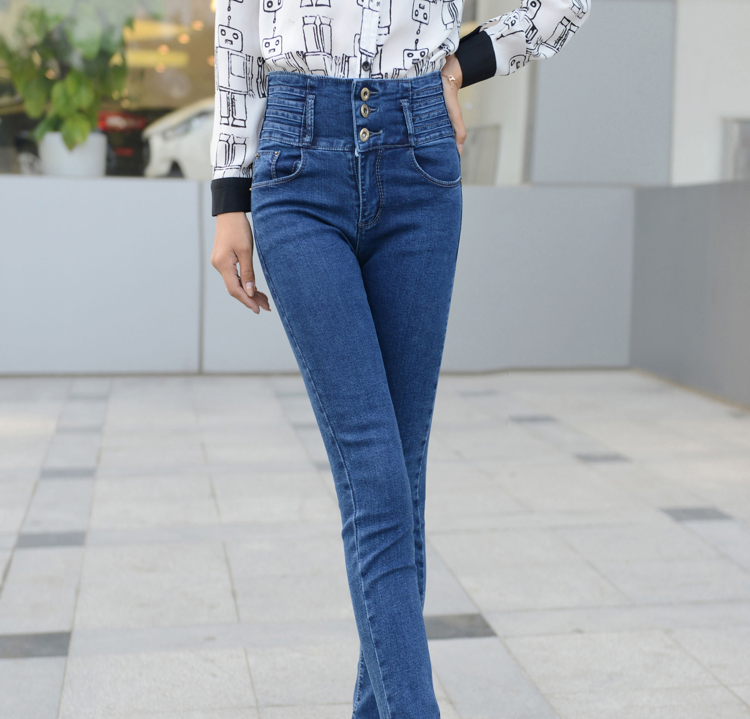高腰牛仔裤女显瘦 2014秋装新款韩版修身小脚裤蓝色铅笔长裤 潮