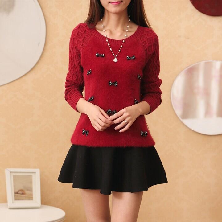 韩版秋冬天女装新款套头毛衣女长袖圆领宽松大码海马毛针织打底衫