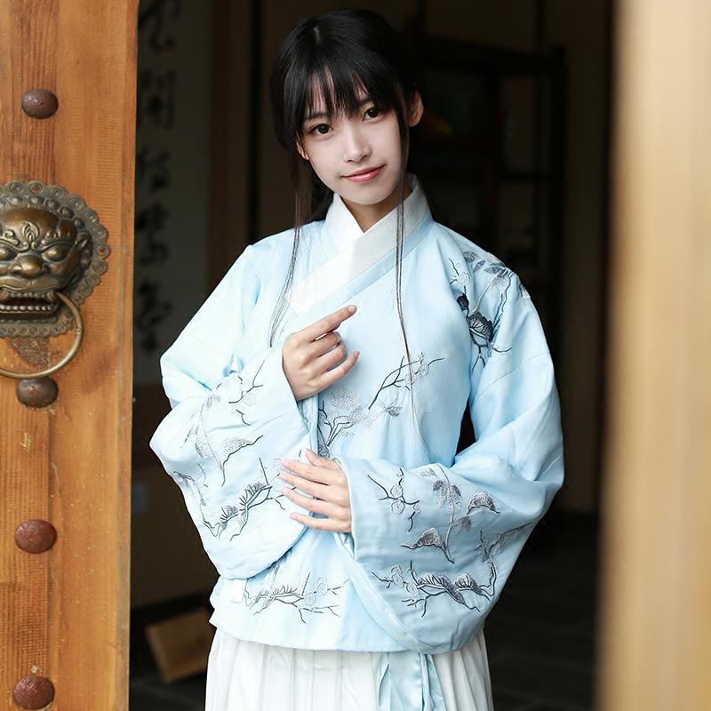 雪佳人-中国风女装汉元素传统汉服女沃裙女士上衣冬加厚长袖刺绣