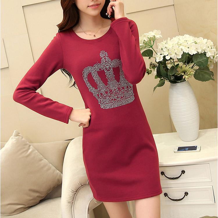 2014年新款女式加绒保暖连衣裙冬装长袖修身气质包臀打底裙