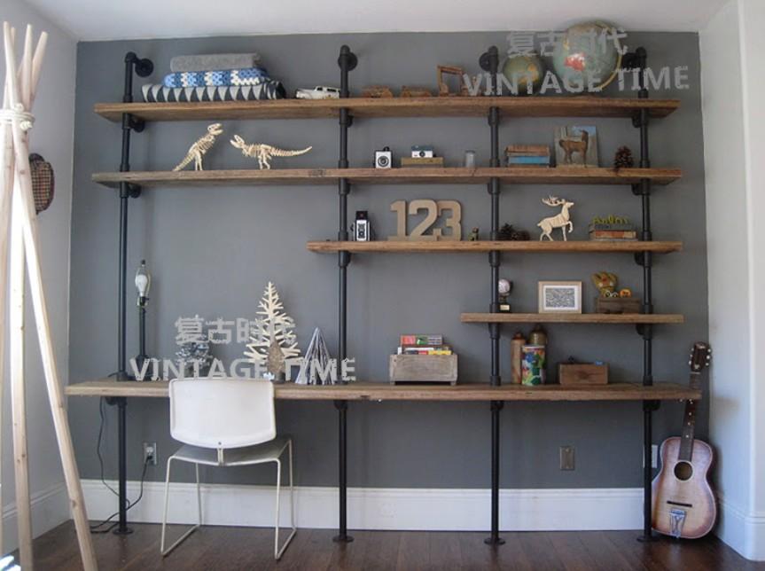 北欧美式乡村实木铁艺电脑桌台式桌家用笔记本实木电脑桌书架组合