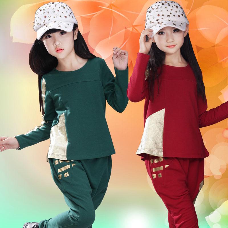童装春秋新款小中大女童休闲纯色学生常规公主时尚学院运动2件套
