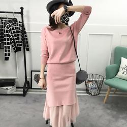 女装春装2017新款潮套装女显瘦韩版时尚针织半身裙毛衣两件套装裙