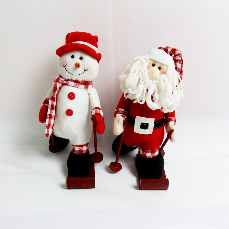 站姿滑雪圣诞老人圣诞雪人摆件圣诞礼品圣诞礼物 滑雪老人