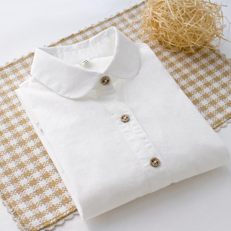 白衬衫女装 加绒保暖纯棉百搭打底衬衫内搭衬衣花纽扣日系小清新