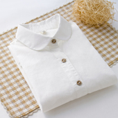 内搭衬衣花纽扣日系小清新 加绒保暖纯棉百搭打底衬衫 女装 白衬衫