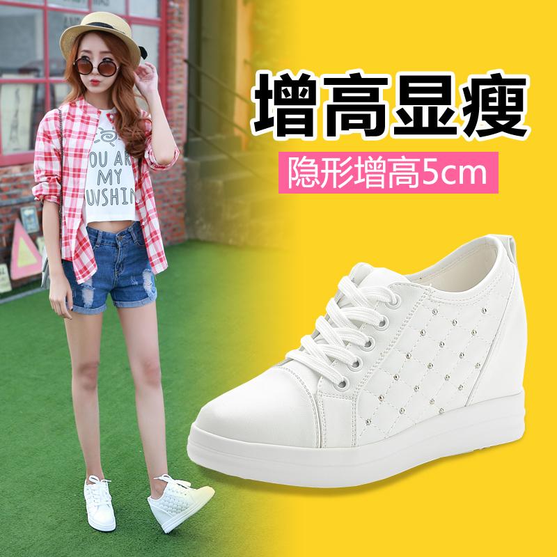 2015秋季新款韩版内增高女鞋铆钉平底运动风休闲鞋单鞋