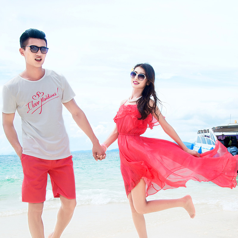 2016年新款qlz情侣装夏装蜜月海边度假婚纱照波西米亚T恤套装时尚