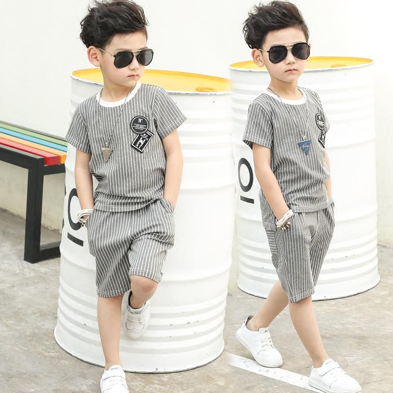 男孩童男夏裝衣服童裝套裝男童短袖兒童韓版潮夏季