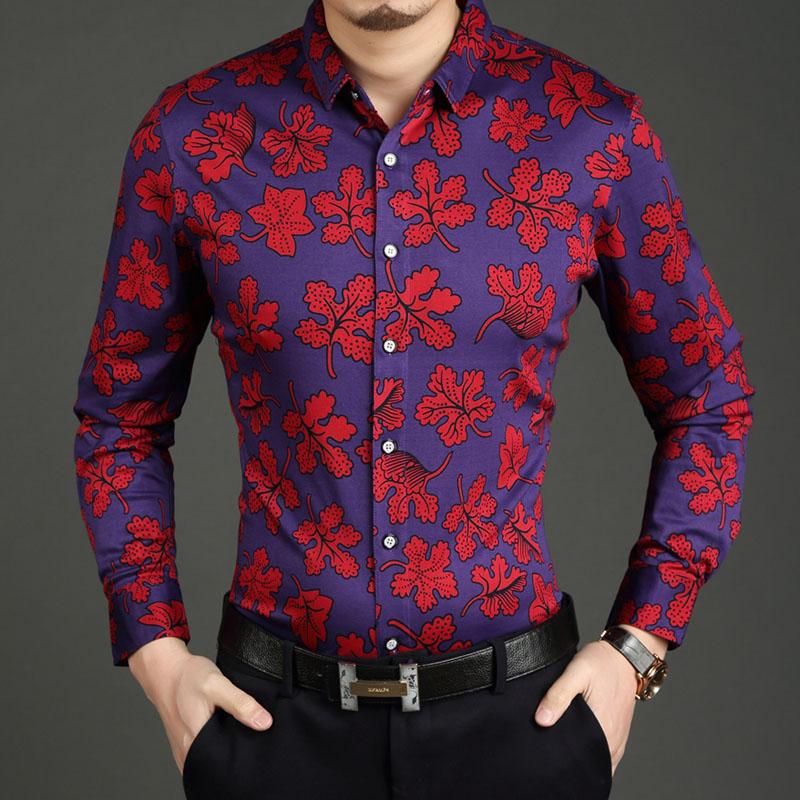 摩臣2015春季新款男士长袖衬衣 丝光棉印花衬衫男 时尚韩版薄衬衫