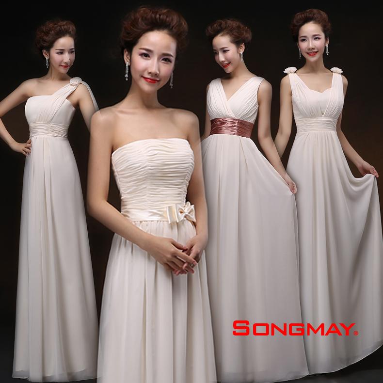 婚纱礼服新款2014香槟色伴娘礼服长款新娘敬酒服结婚姐妹裙晚礼服