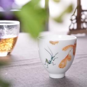 千红窑醴陵手绘茶具杯子茶盏功夫茶杯主人杯单杯陶瓷品茗杯个人杯