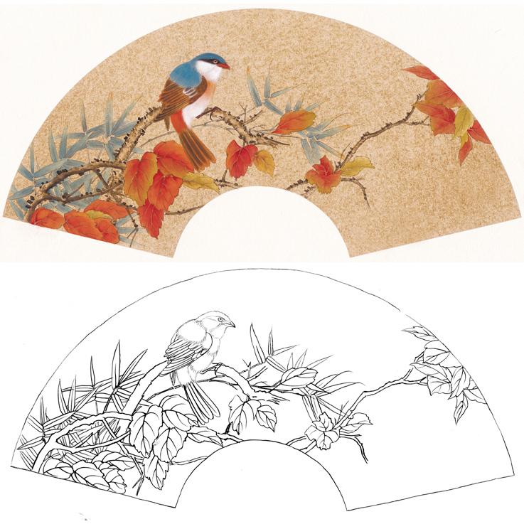 高清扇面花鸟国画工笔画白描底稿素材临摹练习勾线实物打印稿250图片