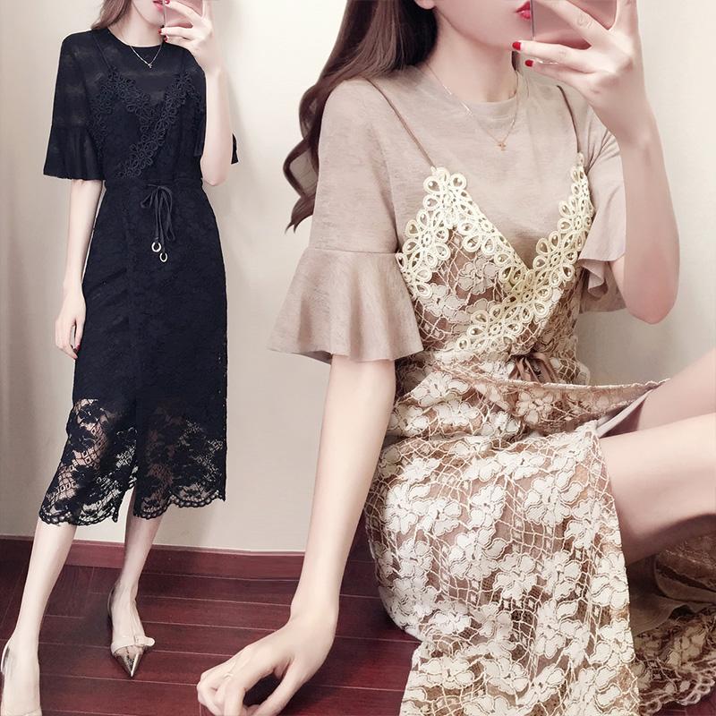 时尚荷叶袖雪纺收腰显瘦中长款蕾丝圆领两件套连衣裙