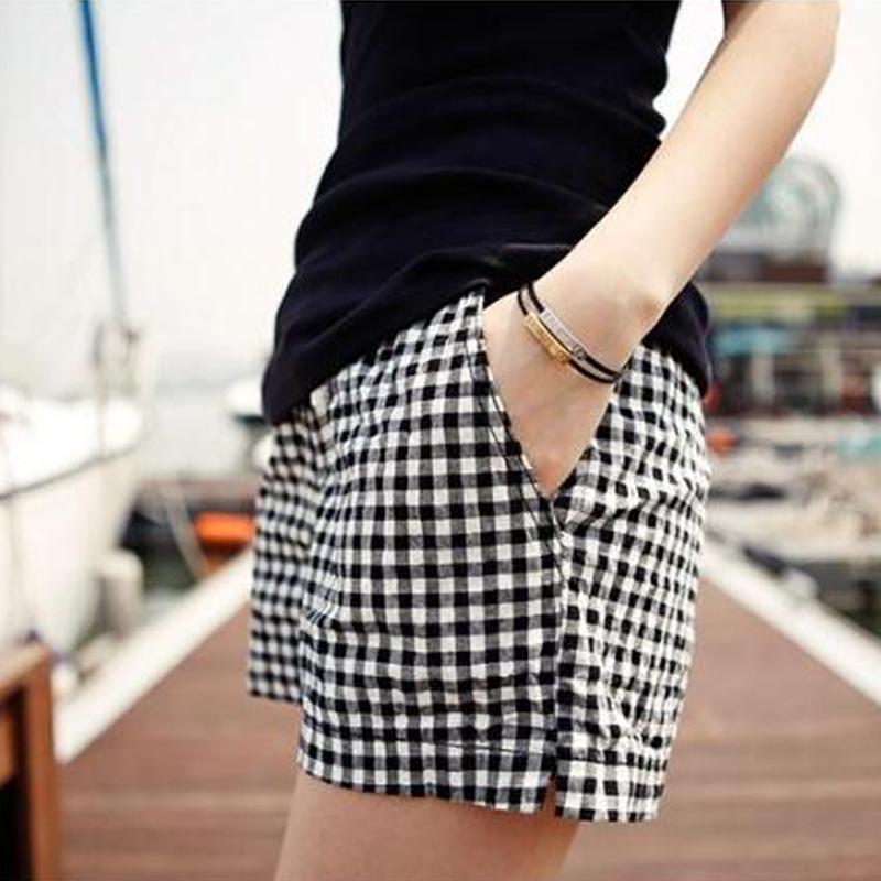 棉麻格子短裤女2015夏季韩版亚麻休闲裤胖MM大码高腰运动短裤热裤