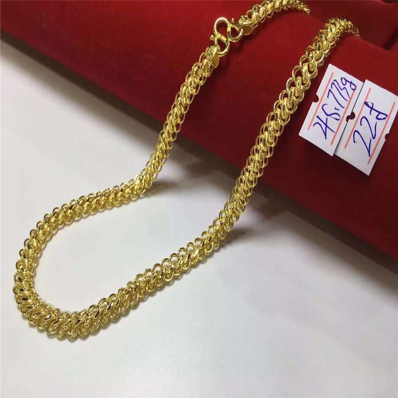 千足花圈男装黄金颈链手镯珠宝首饰钻石彩宝女颈手链现货定制