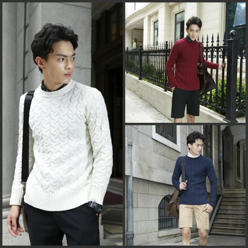 2014韩版日系套头麻花男式高质量毛衣新款秋冬季男士扭花毛衣潮