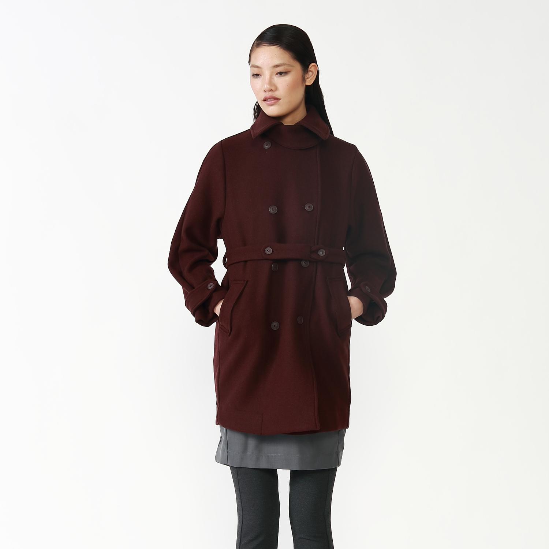 JNBY江南布衣冬季 经典双排扣保暖毛呢大衣女系带收腰外套5E82E31