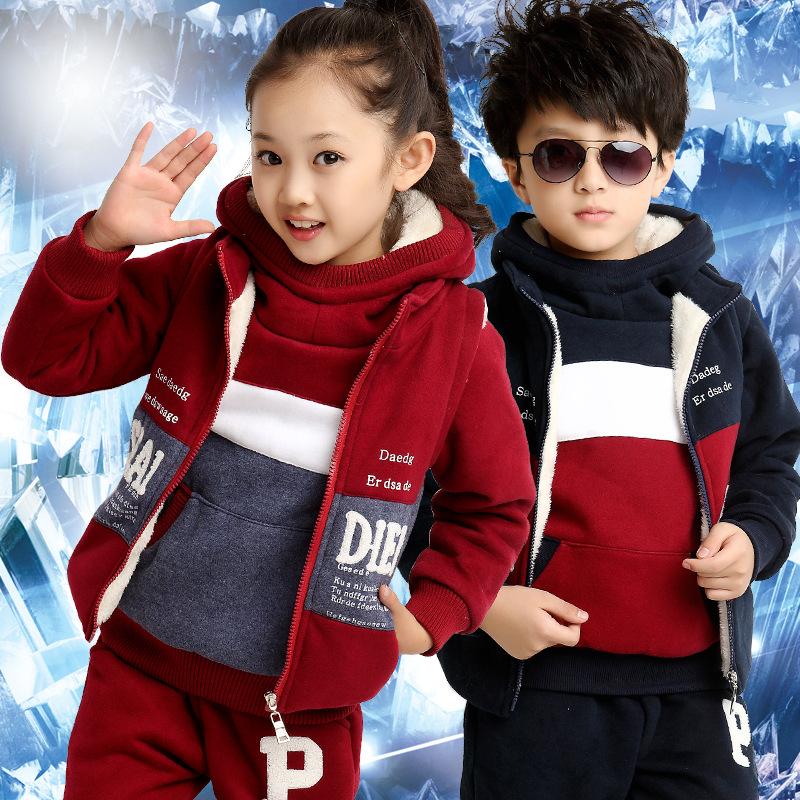 女童加绒加厚卫衣三件套中大童冬装2014新款潮韩版男童装儿童套装