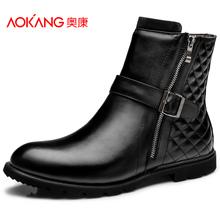 奥康 男鞋 男士圆头工装靴男靴 冬季保暖短筒英伦真皮耐磨短靴子图片
