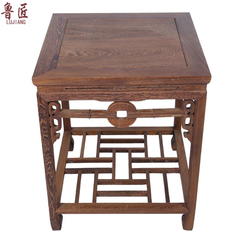 红木花几茶几小方桌鸡翅木双层大花架