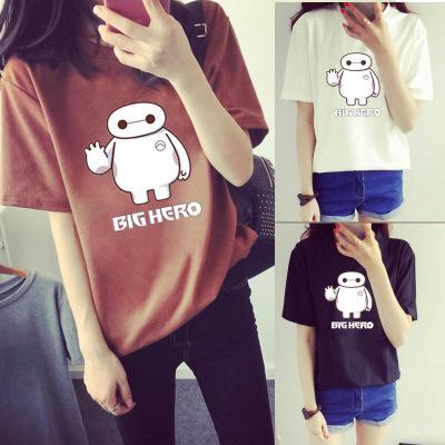 2017夏季新款韩版宽松大码女装大白卡通短袖t恤女学生上衣打底衫