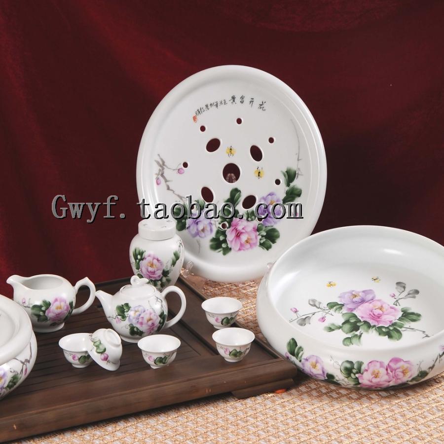 【景德镇红叶金品陶牌陶瓷】12头花开富贵手绘功夫茶具白瓷器套装