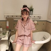 家居服三件套夏女 式短袖 条纹睡衣套装 短裤 宽松衬衫 韩国东大门代购
