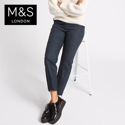 马莎玛莎 女毛呢秋冬装新款羊毛七分休闲裤 T595498