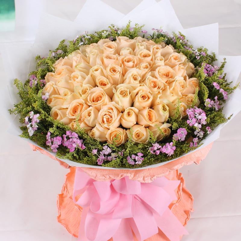 99朵香槟玫瑰烟台鲜花快递芝罘区订花栖霞牟平莱山开发区鲜花配送