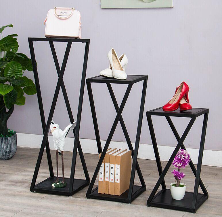 美式乡村铁艺服装店流水台服装展示台货架置物架陈列架包包架鞋架