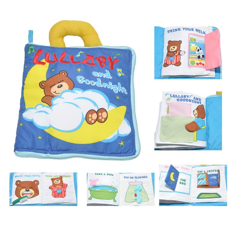 多功能手提小熊晚安婴儿益智布书 生活习惯 配有可移动小熊 摇铃