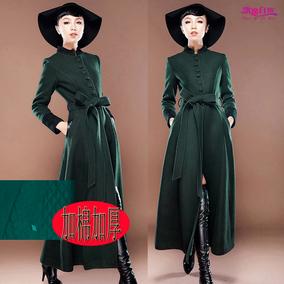 秋冬女欧美复古羊毛呢子大衣超长外套修身加长款风衣修身显瘦特价