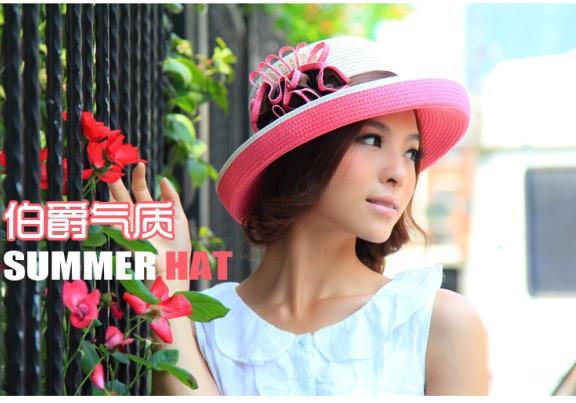 帽子女夏天韩版遮阳帽夏季草帽大檐帽大沿帽 沙滩帽太阳帽