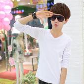 潮男装 冬季白色衣服男上 青少年打底衫 T恤男士 修身 韩版 秋季V领长袖