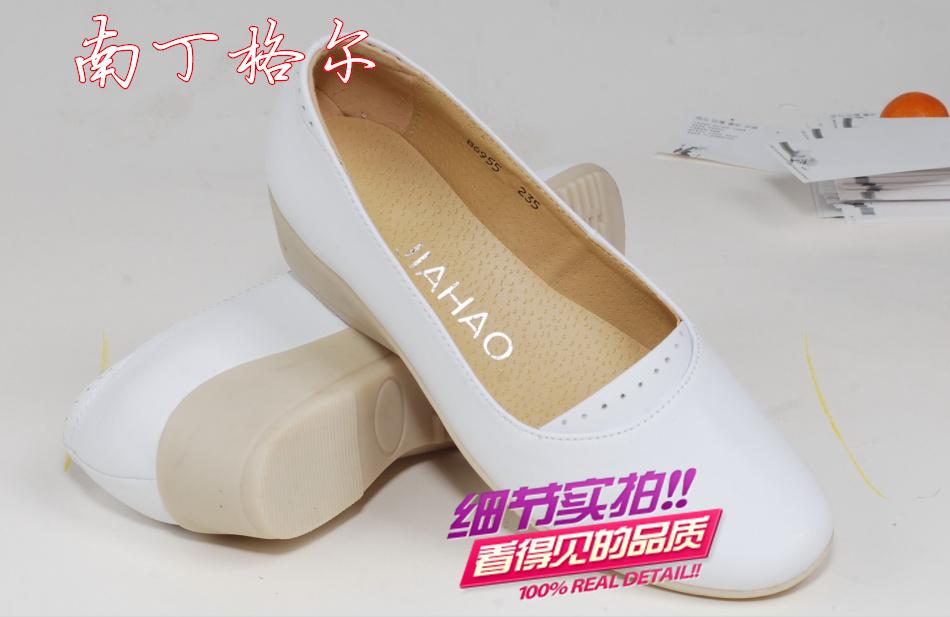 正品南丁格尔护士鞋白色牛筋底HSX-80006休闲鞋牛皮女鞋单鞋坡跟