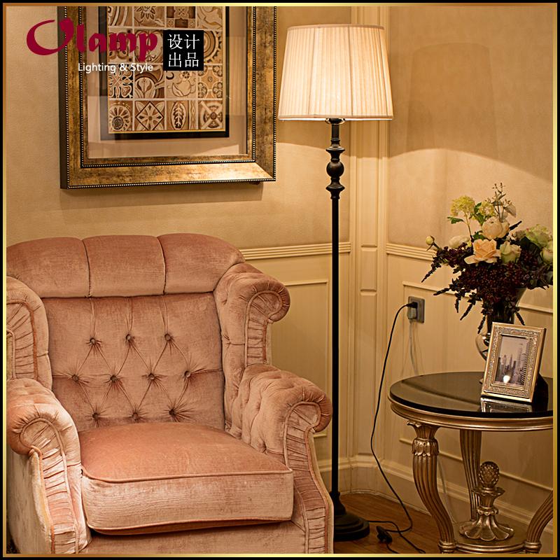 爆款现售 欧式落地灯 客厅卧室床头铁艺落地台灯 复古创意布艺灯