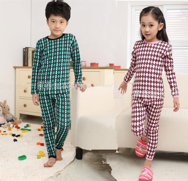2013年秋冬新款儿童加绒加厚保暖内衣套装男女款碎花格子宝宝睡衣