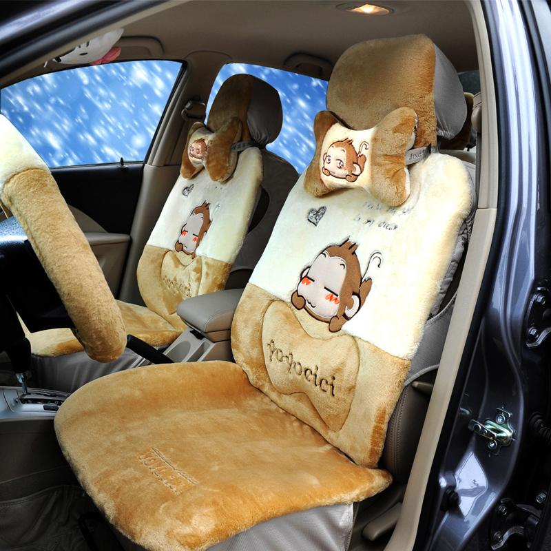悠嘻猴 汽车坐垫 冬季新款汽车座垫 毛绒坐垫 汽车用品 车垫毛垫