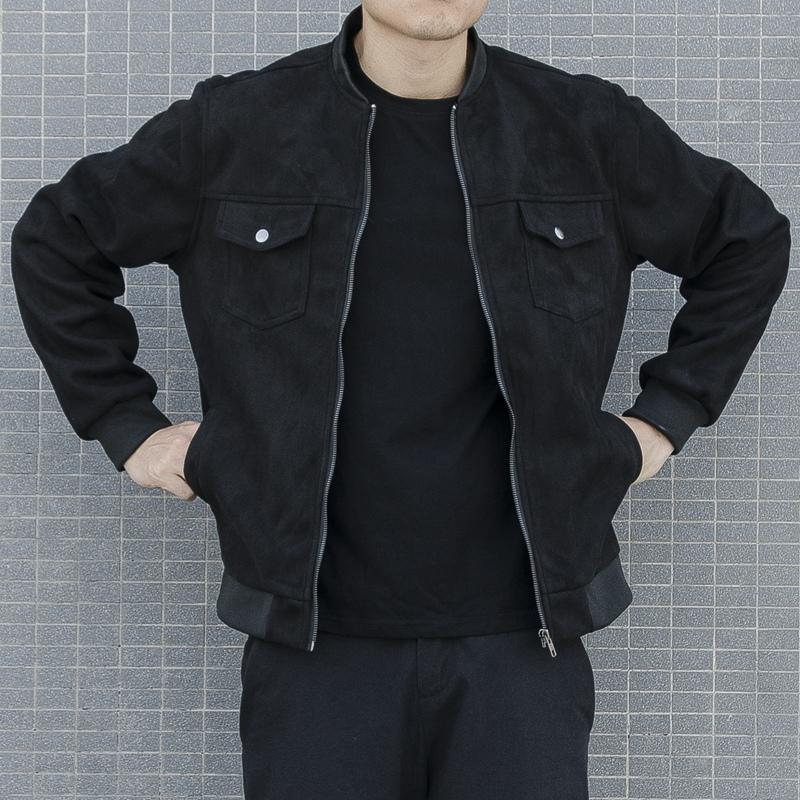 秋冬季修身夹克男韩版潮流麂皮绒立领外套青年翻毛皮鹿皮棒球服