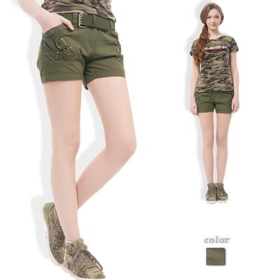 [限时优惠] 夏季新款女装迷彩服套装短袖T恤半袖上衣 登山旅游迷彩裤短裤热裤