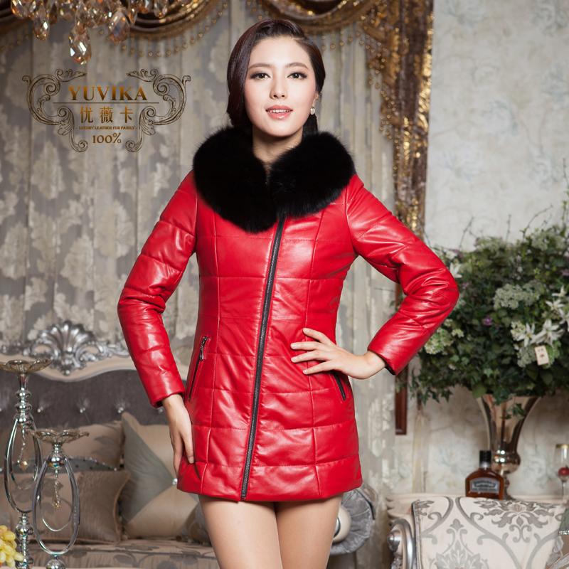 冬季韩版修身中长款狐狸毛领外套 羽绒服绵羊皮 海宁真皮皮衣女装