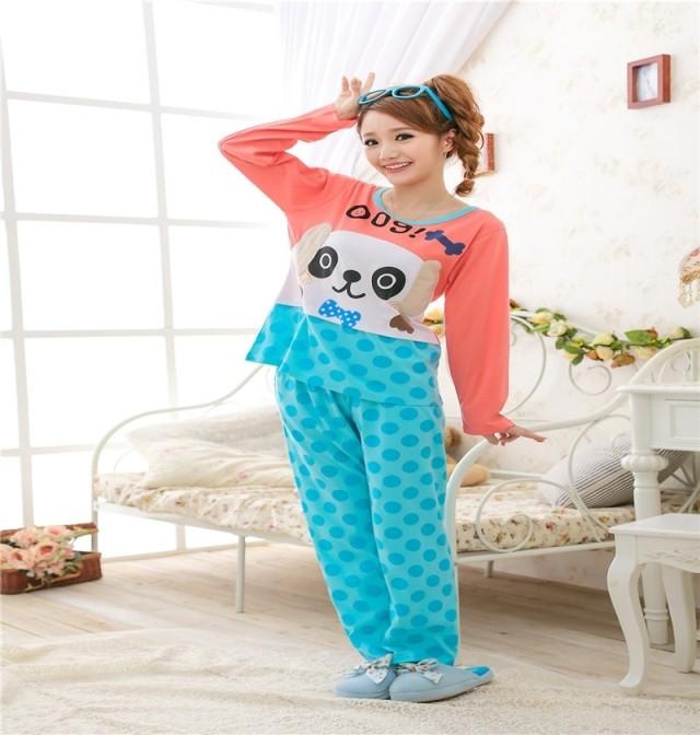 针织睡衣女全纯棉长袖韩版卡通可爱蓝点小狗睡衣家居服套装包邮
