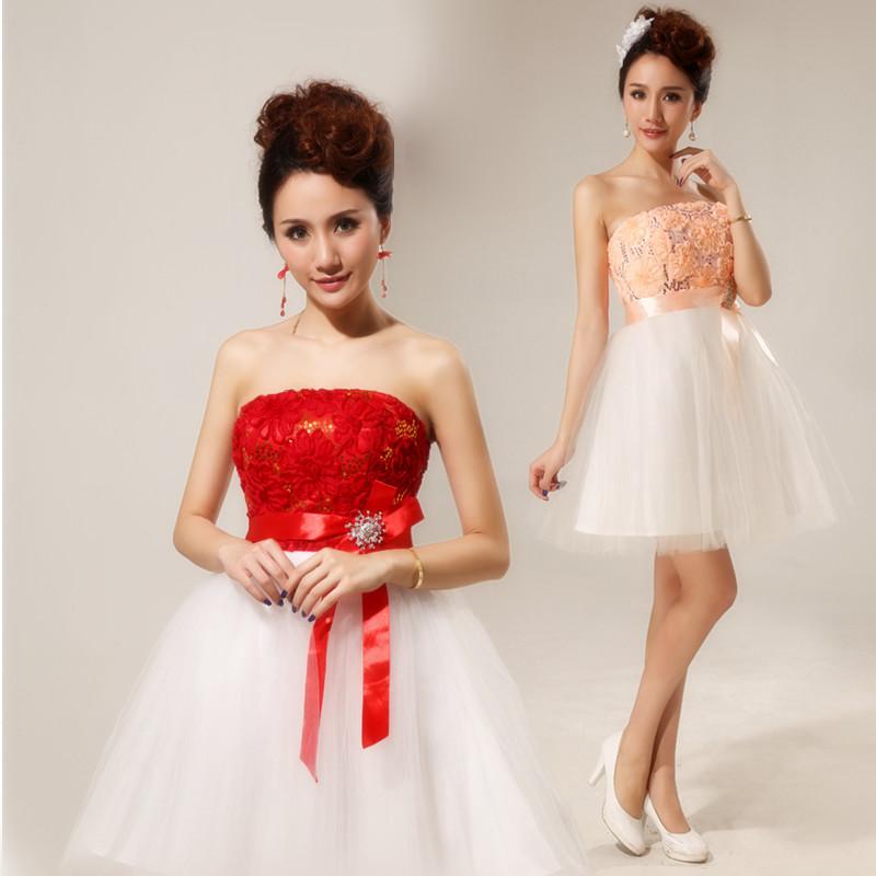 新娘结婚小短裙 伴娘礼服 短款敬酒礼服2013新款韩版收腰礼服