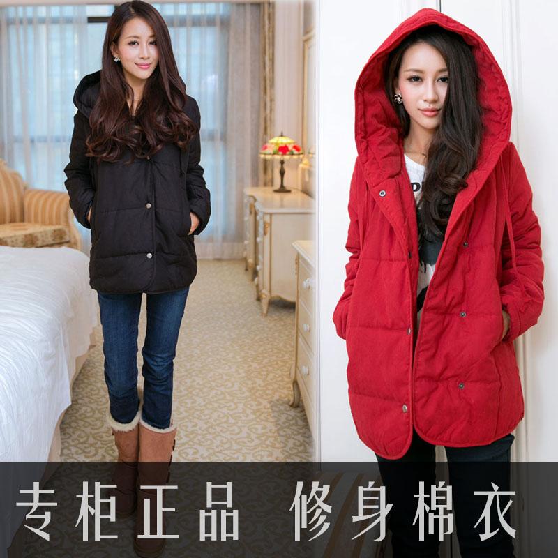 冬季新款女装 韩版加厚棉袄外套女 修身棉服女 中长款棉衣外套女