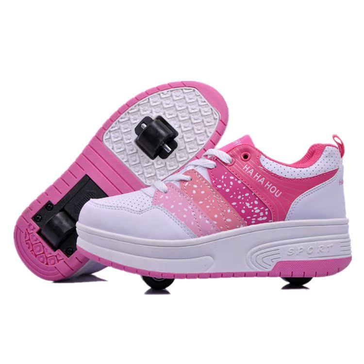 秋冬儿童双轮暴走鞋男童女童自动款隐形按钮女款成人有轮运动鞋