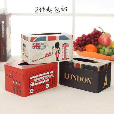 创意家居定制铁皮纸巾盒客厅餐厅卧室抽纸盒欧式餐巾面巾纸收纳盒