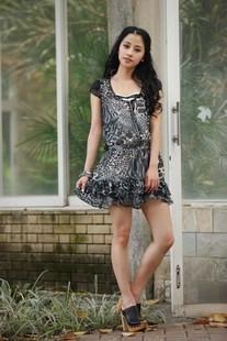 特价艾凸AITU专柜正品夏装女装韩版雪纺豹纹修身连衣裙A1122LQ47